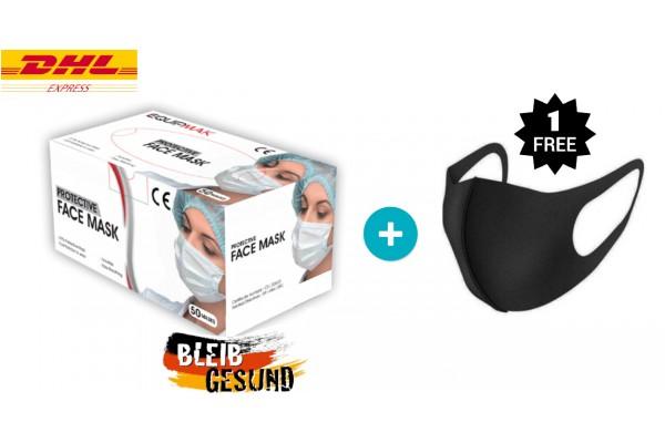 50 / STK 3-lagig Mundschutz Maske  Einweg Gesichtsmaske Behelfsmaske + 1 / STK Nano Maske