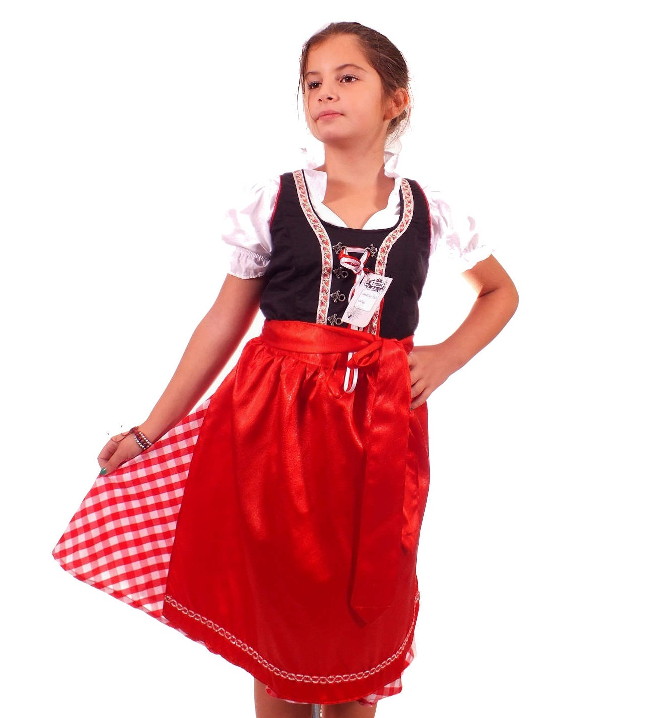 kinder kleid trachtenkleid 3tlg maedchen dirndl gr 152 rot. Black Bedroom Furniture Sets. Home Design Ideas