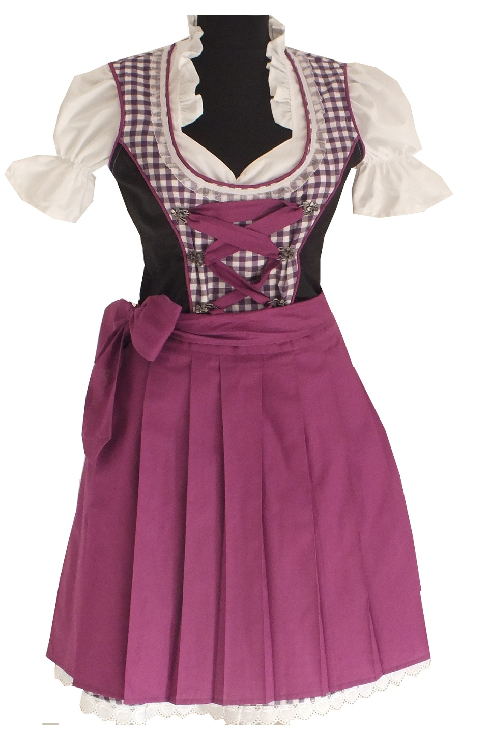 3tlg dirndl gr 52 48 trachten sch rze bluse lila kariert. Black Bedroom Furniture Sets. Home Design Ideas